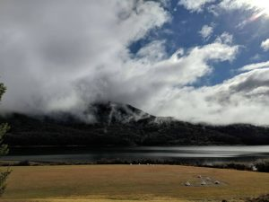 Clouds over snowy mountain at Talbingo